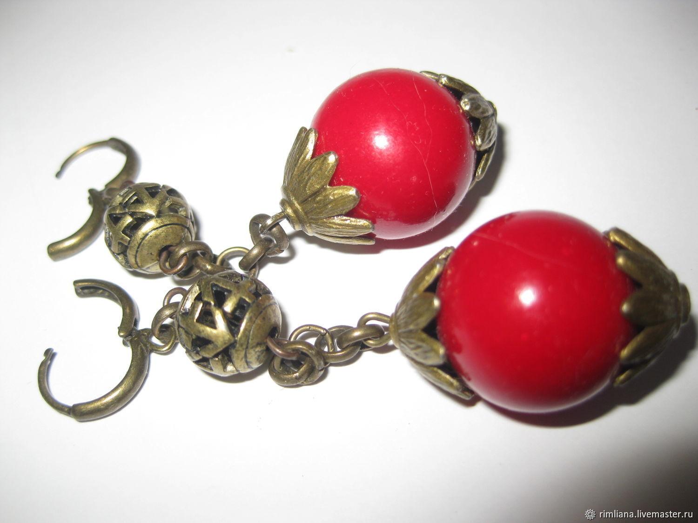 Coral earrings large 18 mm long dark red, Earrings, Moscow,  Фото №1