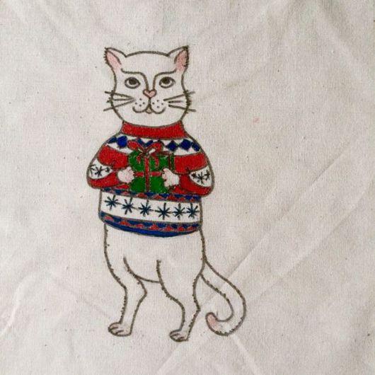 Сумки и аксессуары ручной работы. Ярмарка Мастеров - ручная работа. Купить Эко сумка Новогодний кот. Handmade. Эко сумка