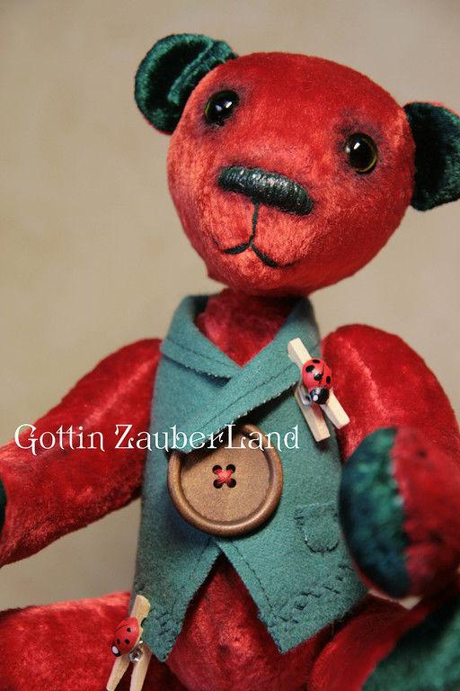 Мишки Тедди ручной работы. Ярмарка Мастеров - ручная работа. Купить Oliver. Handmade. Мишки тедди, ярко-красный, диски