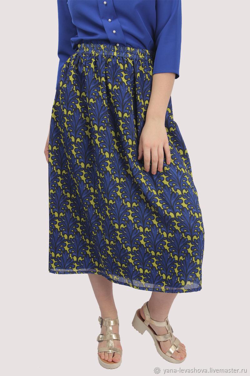 Chiffon skirt with elastic print blue yellow MIDI, Skirts, Moscow,  Фото №1