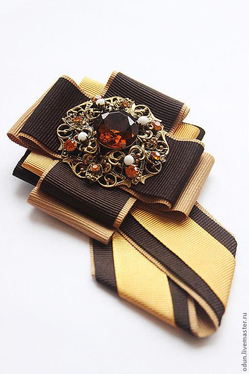 """Броши ручной работы. Ярмарка Мастеров - ручная работа. Купить Брошь - галстук """" Нарцисс """". Handmade. Коричневый, горчичный"""