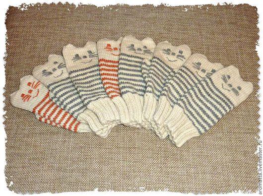 """Варежки, митенки, перчатки ручной работы. Ярмарка Мастеров - ручная работа. Купить Варежки из альпаки """"Весёлые котята"""". Handmade. Варежки"""