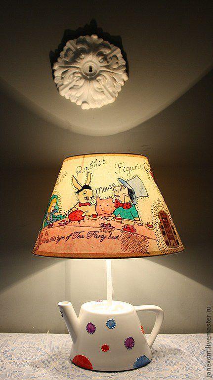 Освещение ручной работы. Ярмарка Мастеров - ручная работа. Купить Светильник. Handmade. Алиса в стране чудес, чаепитие, из детства, шляпник