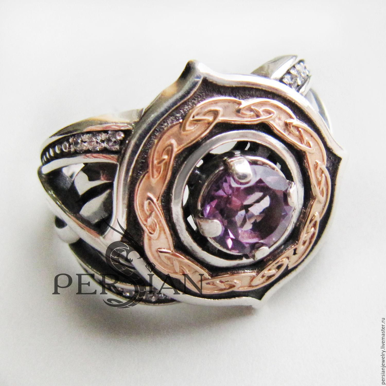 Серебряное кольцо с сиреневым  аметистом «ELFE», Кольца, Севастополь,  Фото №1