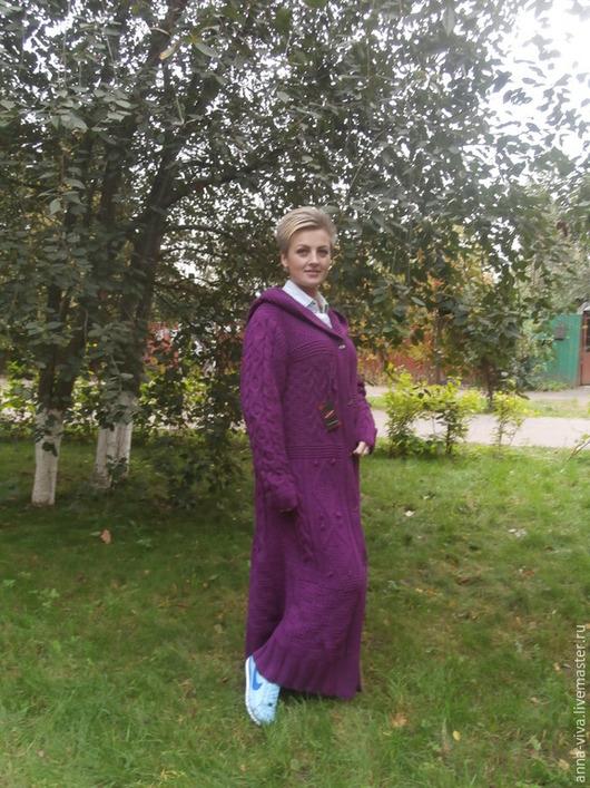 Верхняя одежда ручной работы. Ярмарка Мастеров - ручная работа. Купить Пальто вязаное Осенний фиолет (продано). Handmade. Фиолетовый