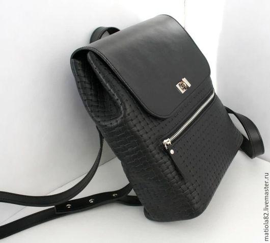 Рюкзаки ручной работы. Ярмарка Мастеров - ручная работа. Купить Рюкзак женский натуральная кожа (BBW002). Handmade. Черный, рюкзачок