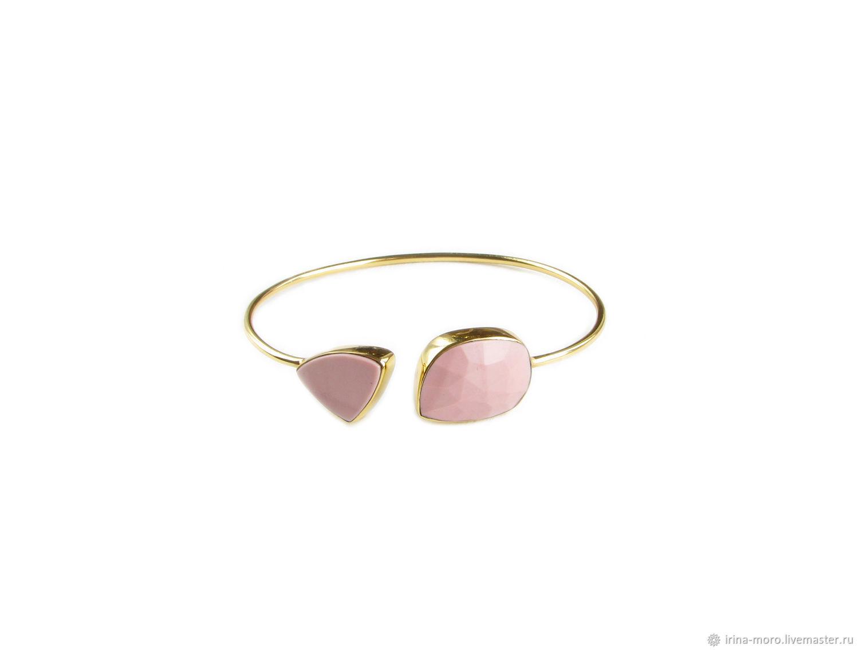 Золотой браслет с опалом, браслет с камнем, розовый опал браслет, Браслет из бусин, Москва,  Фото №1