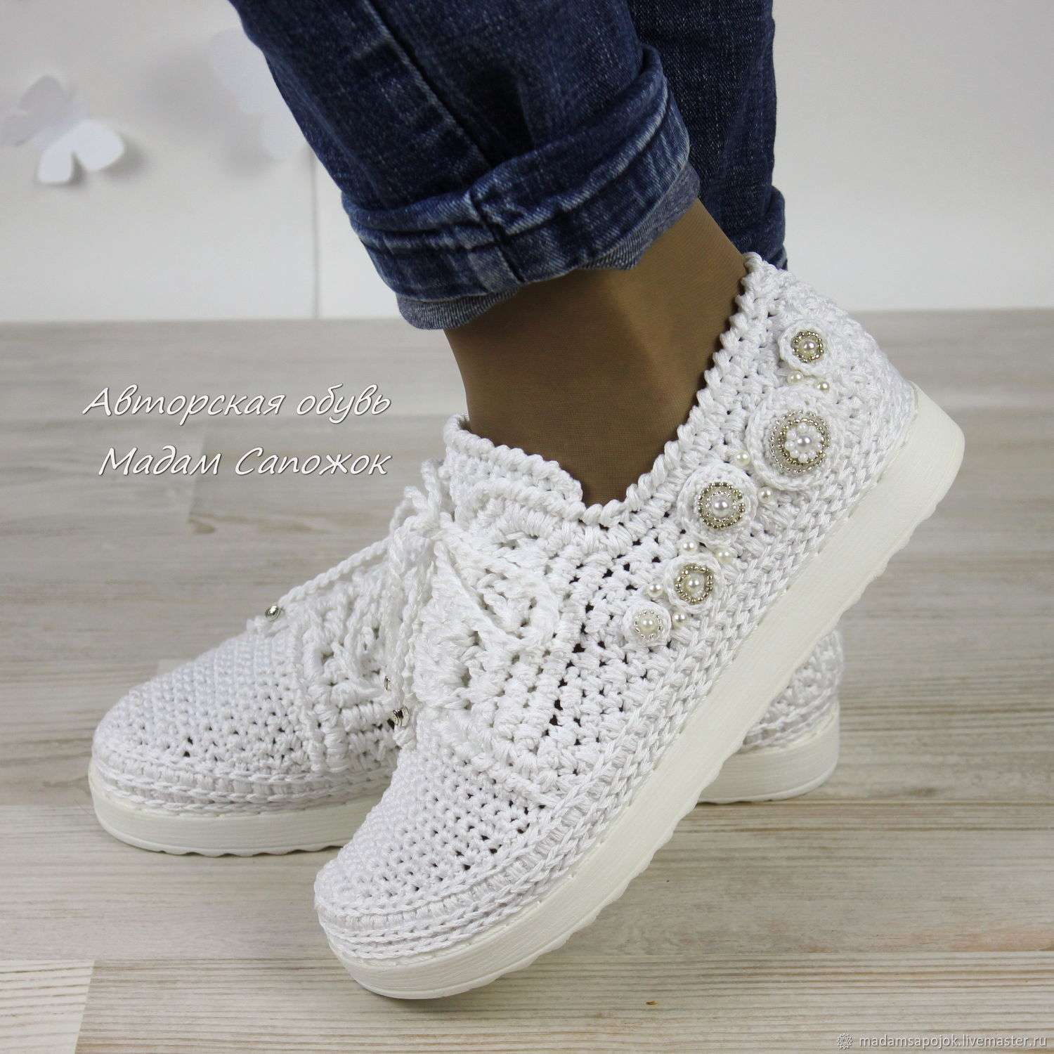 White sneakers with beading, women's, Sneakers, Nizhny Novgorod,  Фото №1