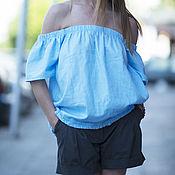 Одежда handmade. Livemaster - original item Summer, blue blouses of flax - TP0483LE. Handmade.