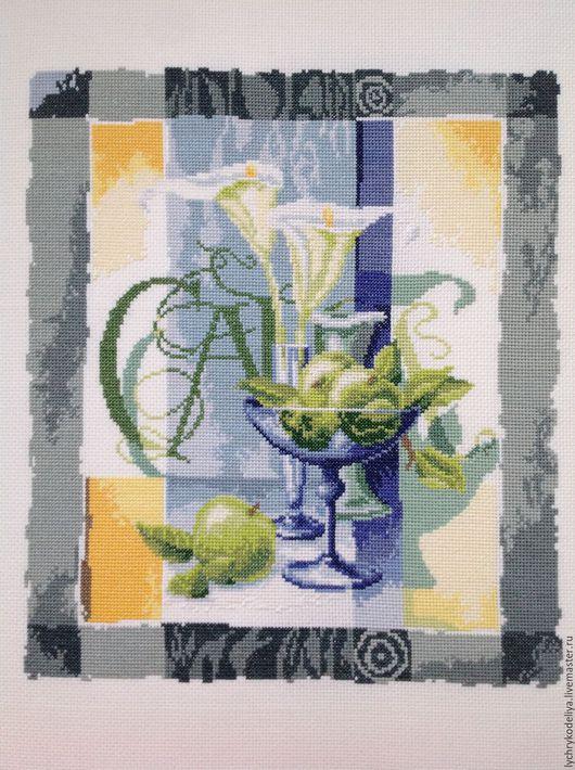 """Абстракция ручной работы. Ярмарка Мастеров - ручная работа. Купить Натюрморт """"Галла"""". Handmade. Голубой, натюрморт с фруктами, белые цветы"""