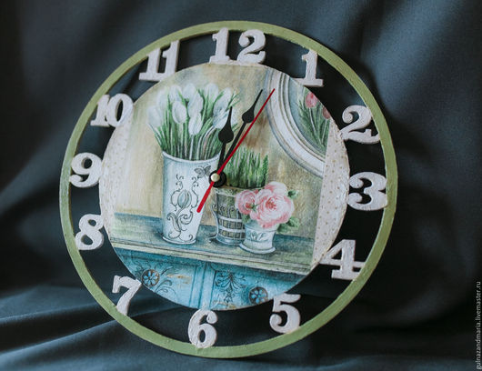 Часы для дома ручной работы. Ярмарка Мастеров - ручная работа. Купить Настенные часы. Handmade. Комбинированный, часы, прованс, цветы