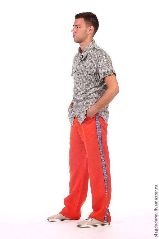 Для мужчин, ручной работы. Ярмарка Мастеров - ручная работа. Купить летние брюки. Handmade. Оранжевый, мужские летние брюки