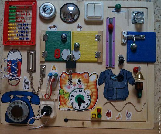 Развивающие игрушки ручной работы. Ярмарка Мастеров - ручная работа. Купить БИЗИБОРД РАЗВИВАЮЩАЯ ДОСКА. Handmade. Комбинированный, развитие моторики