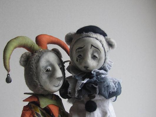 Мишки Тедди ручной работы. Ярмарка Мастеров - ручная работа. Купить Пьеро и Арлекин. Handmade. Пьеро, подарок, папье-маше