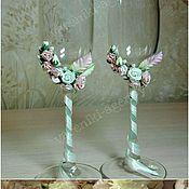 Свадебный салон ручной работы. Ярмарка Мастеров - ручная работа Свадебные бокалы «Мятно-розовые». Handmade.