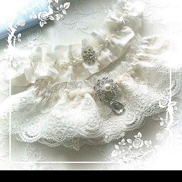 """Свадебный салон ручной работы. Ярмарка Мастеров - ручная работа Комплект подвязок для невесты """"Нежное кружево """". Handmade."""