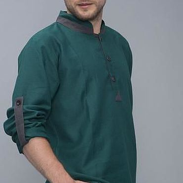 Clothing handmade. Livemaster - original item Shirt: Combined linen shirt. Handmade.
