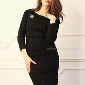 Одежда ручной работы. Ярмарка Мастеров - ручная работа Теплый шерстяной костюм черного цвета. Handmade.