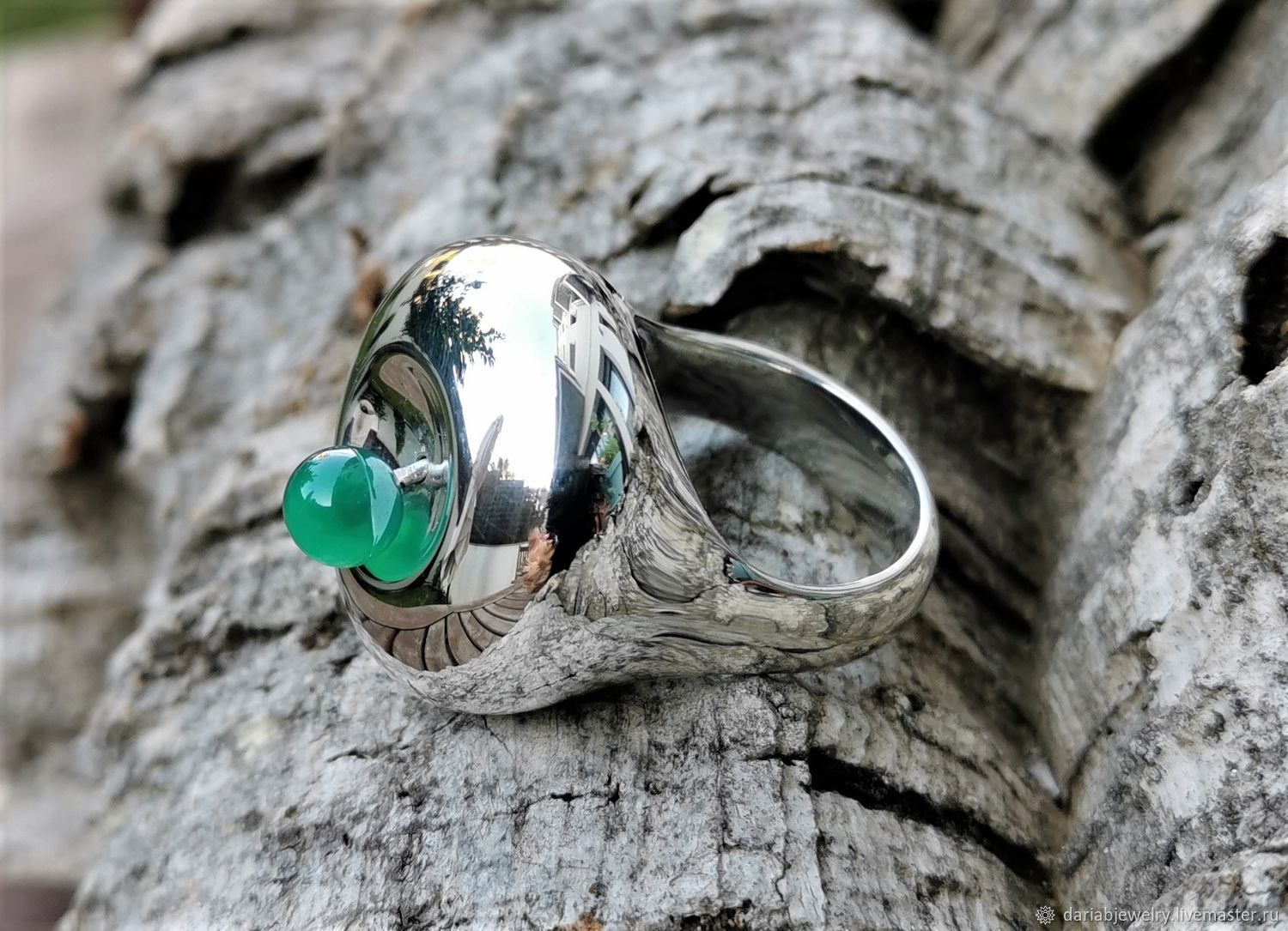 Large ring with chrysoprase 925 Silver, Rings, Barcelona,  Фото №1