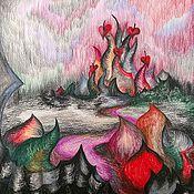 """Картины и панно ручной работы. Ярмарка Мастеров - ручная работа Картина """"Зазеркалье: Замок тьмы"""" Акварель Сказка для Детей Алиса. Handmade."""