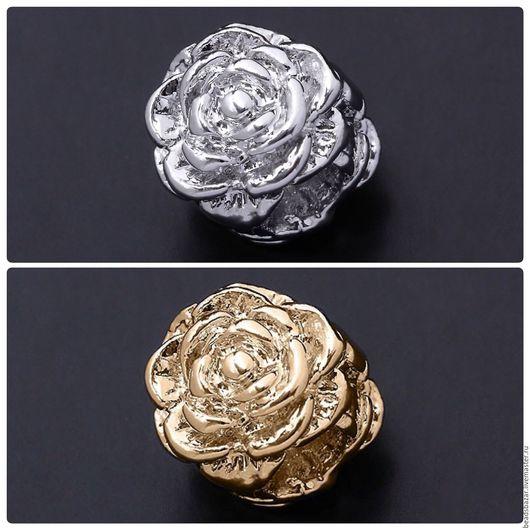 Для украшений ручной работы. Ярмарка Мастеров - ручная работа. Купить Бусина роза. Handmade. Комбинированный, позолоченная фурнитура
