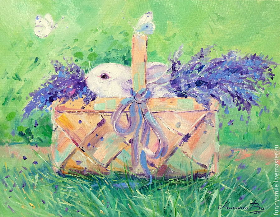 Oil painting on canvas Bunny in a basket. Rabbit. Lavender, Pictures, Moscow,  Фото №1