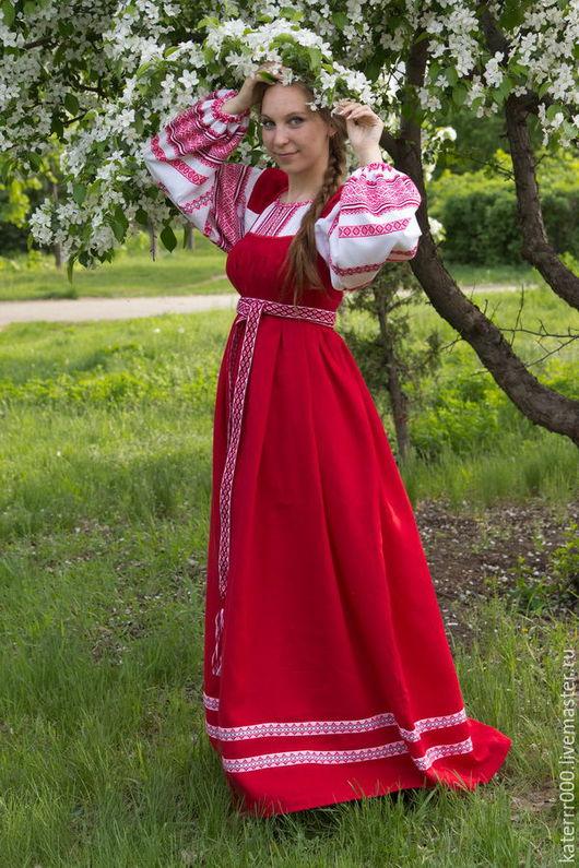 Одежда ручной работы. Ярмарка Мастеров - ручная работа. Купить Народный костюм. Handmade. Ярко-красный, народный сарафан