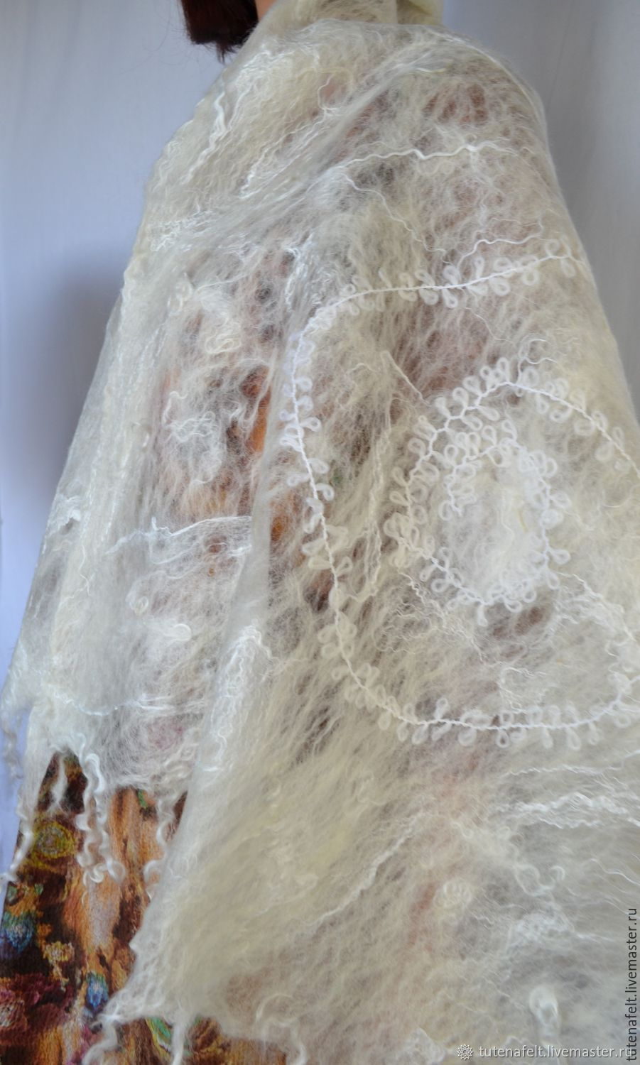 Felted scarf-shawl ' wrapped up blanche Naturelle', Capes, Mulhouse,  Фото №1