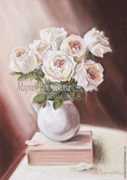 Картины цветов ручной работы. Ярмарка Мастеров - ручная работа. Купить РОЗЫ картина. Handmade. Бежевый, букет, белый, пионы