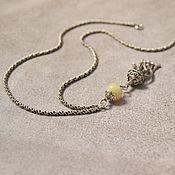 Украшения handmade. Livemaster - original item Ethiopian opal. Pendant with brush on a chain Tassel (925 silver, opal). Handmade.