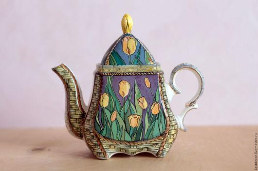 """Чайники, кофейники ручной работы. Ярмарка Мастеров - ручная работа. Купить Чайник заварочный фарфоровый """"Тюльпаны"""". Handmade. Комбинированный, тюльпан"""