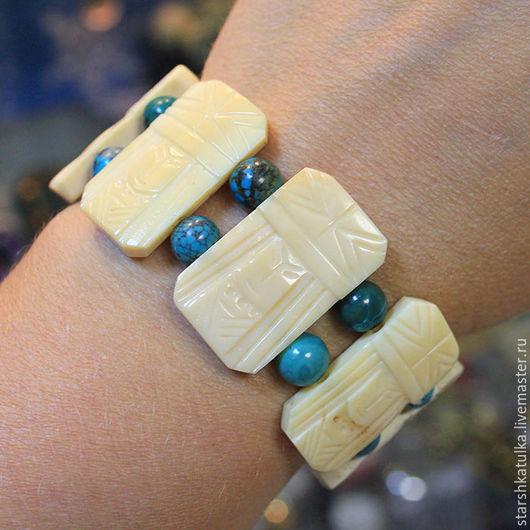 Винтажные украшения. Ярмарка Мастеров - ручная работа. Купить Браслет из кости с бирюзой. Handmade. Бежевый, браслет из кости, браслет с бирюзой
