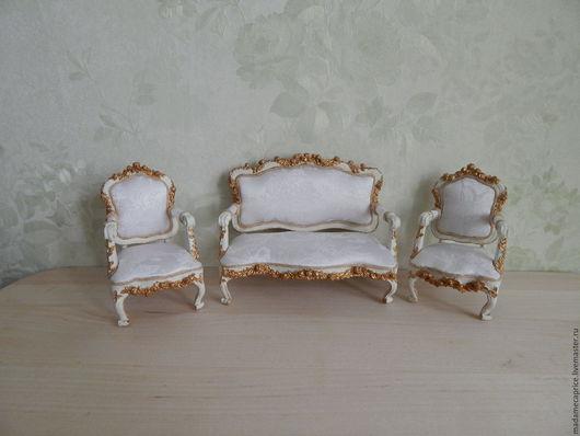 Кукольный дом ручной работы. Ярмарка Мастеров - ручная работа. Купить диван Людовик 15. Handmade. Белый, диван для куклы