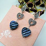 handmade. Livemaster - original item Classic long earrings with carved sodalite