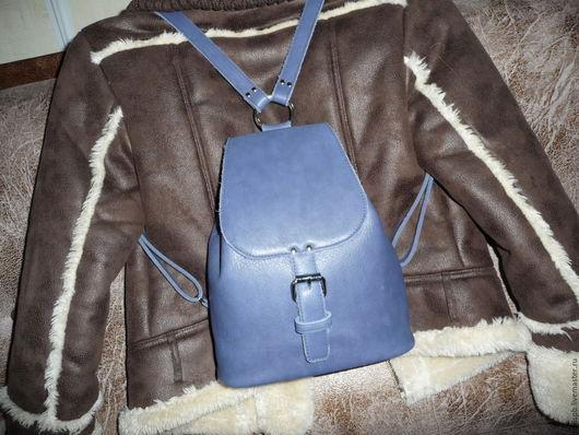Рюкзаки ручной работы. Ярмарка Мастеров - ручная работа. Купить Синий кожаный рюкзак. Handmade. Синий, рюкзак городской