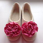 """Обувь ручной работы. Ярмарка Мастеров - ручная работа Тапочки валяные """"Пион розовый"""". Handmade."""