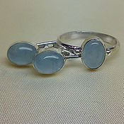 Украшения ручной работы. Ярмарка Мастеров - ручная работа Аквамарин в серебре серьги и кольцо. Handmade.