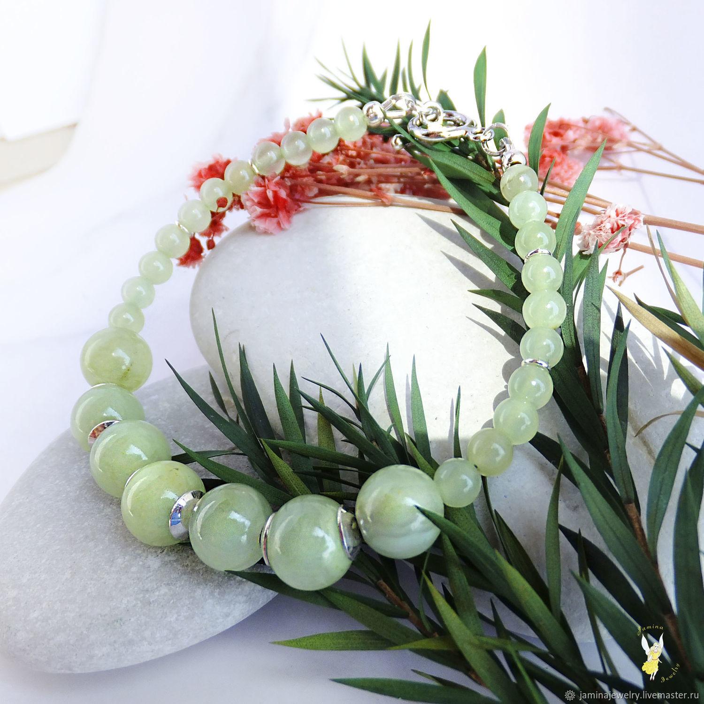 Зеленый браслет из кальцита серебряный, Браслет из бусин, Краснодар,  Фото №1