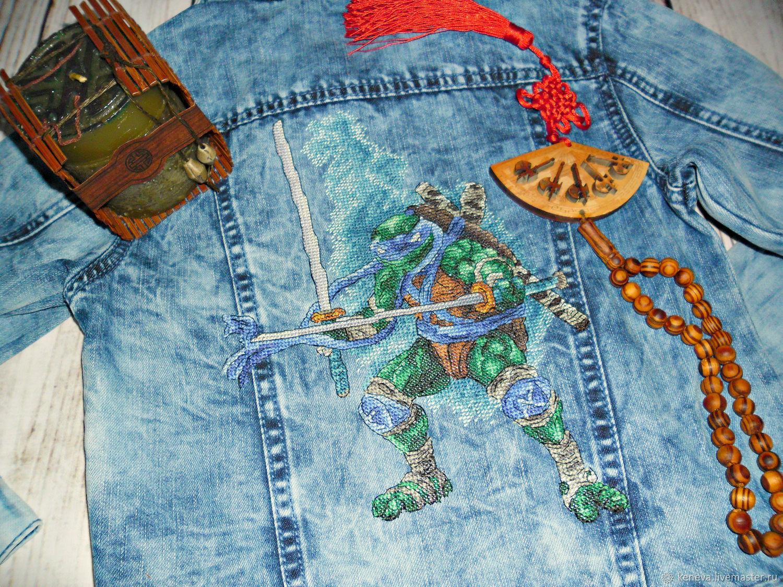 Джинсовая куртка с вышивкой Леонардо, Одежда для мальчиков, Благовещенск, Фото №1