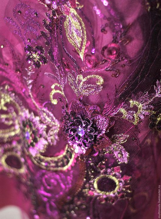 Платья ручной работы. Ярмарка Мастеров - ручная работа. Купить Платье- коллаж  вечернее ..3D сиреневая роскошь... Handmade. Брусничный