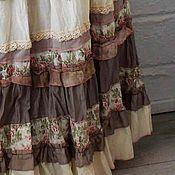 Одежда ручной работы. Ярмарка Мастеров - ручная работа Длинная многоярусная. летняя юбка кремово-бежева в стиле бохо.. Handmade.