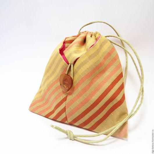 Женские сумки ручной работы. Ярмарка Мастеров - ручная работа. Купить Мешочек-косметичка из ткани. Handmade. Бежевый, косметичка из ткани