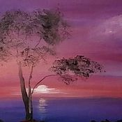 """Картины и панно handmade. Livemaster - original item Oil painting """"Seascape. Purple"""". Handmade."""