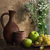 Картины и панно ручной работы. Ярмарка Мастеров - ручная работа Натюрморт с кувшином и яблоками. Handmade.
