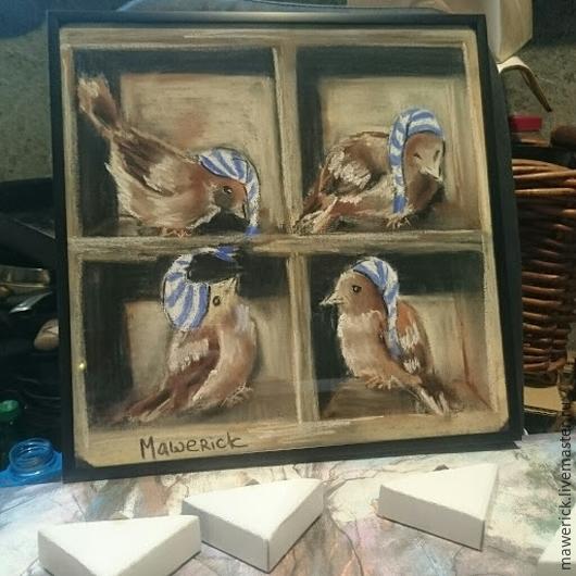 Фантазийные сюжеты ручной работы. Ярмарка Мастеров - ручная работа. Купить Птички. Handmade. Разноцветный, птички, дети, детская комната