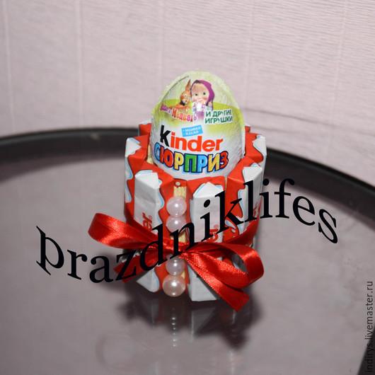 Персональные подарки ручной работы. Ярмарка Мастеров - ручная работа. Купить Киндер торт мини -подарок ребенку на 1 сентября, корпоративные подарки. Handmade.