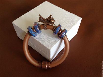 Браслеты ручной работы. Ярмарка Мастеров - ручная работа. Купить Браслет Закат. Handmade. Коричневый, рыжий, синий, силиконовый браслет
