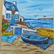 Vintage interior handmade. Livemaster - original item Vintage paintings Bretagne and Danse bretonne oil on canvas France. Handmade.