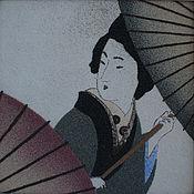 """Картины и панно ручной работы. Ярмарка Мастеров - ручная работа """"Девушка с зонтиками"""". Handmade."""
