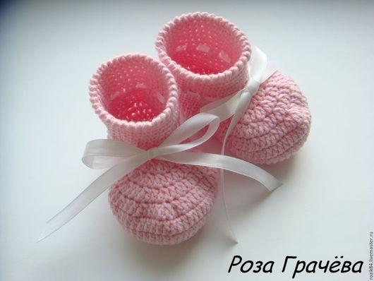 Для новорожденных, ручной работы. Ярмарка Мастеров - ручная работа. Купить Пинетки вязаные пинетки сапожки пинетки. Handmade. Розовый